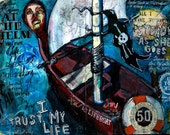 At the Helm, Archival giclee print mounted on cradled panel by Mixed Media artist Juliana Coles