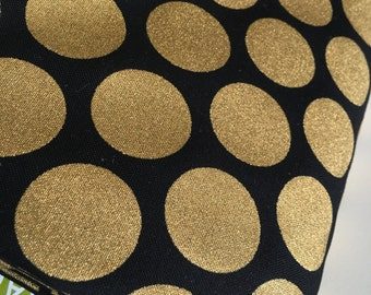 Gold fabric, Gold Polka Dot fabric, Christmas fabric, Spot On Jet, Robert Kaumfman, Cotton fabric by the yard, Choose the cut