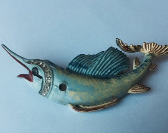 Vintage Enameled Swordfish Brooch
