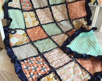 Custom Navy Blue Mint Peach and Gold Tribal Aztec Southwest Crib Bedding Rag Quilt with Satin Ruffle & Minky Backing Made To Order