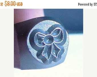 Clearance Design Stamp - BOW or GIFT BOW - 6mm stamped image by ImpressArt -  includes How to Stamp Metal tutorial