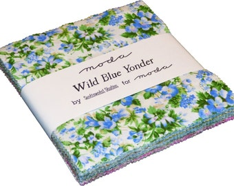 "Wild Blue Charm Moda Pack 42 -  5"" squares by Sentimental Studios"