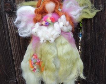 Bunny Fairy with her Children-  Custom Reserved to Dana - Needle felted wool  Waldorf inspired creation by Rebecca Varon aka Nushkie
