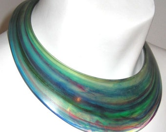 Vintage 1970's Multicolored Lucite Collar Necklace