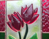 Romantic Red Tulips Fused Glass Stained Glass Suncatcher Panel
