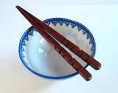 Personalized Chopsticks / Hairpins in Honduran Mahogany Wood - Carved to Order