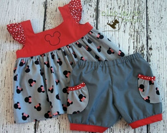 Happy Mouse Tilly Top and Darby Shorts set  Custom sizes 12M to size 7