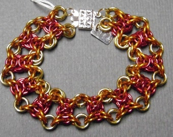 Chainmail Flame Bracelet -- Red / Orange / Yellow