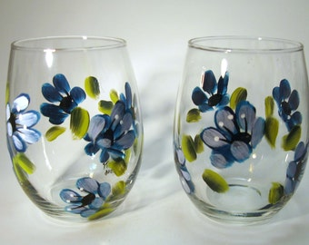 Hand Painted Blue Floral Stemless Wine Glasses