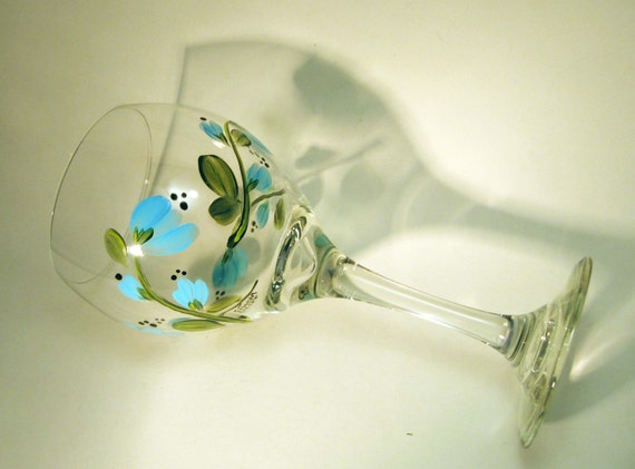 Blue Floral Hand Painted Wine Glasses