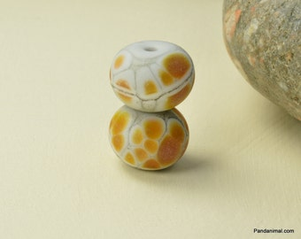 Beach Theme Beads - Lampwork Bead Pair - Earring Pair - Brown Pebble Bead Pair- CPteam  - SRA