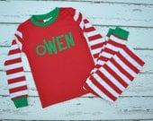 Red Stripe Christmas Pajamas - Christmas Personalized Pajamas - Christmas Monogram Boys PJs - Christmas Pjs - Christmas - JULIANNE ORIGINALS