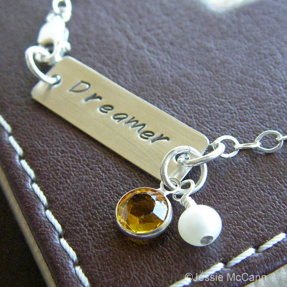"""Custom Bracelet - Personalized Sterling Silver Hand Stamped Jewelry - """"Dreamer"""" Bar Bracelet with Birthstone and Pearl"""