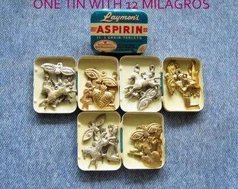 Milagro Aspirin Tin Mexican Milagros Antique Vintage Folk Art Religious Relic Ex Voto Shrine Jewelry Art Pendant Assemblage Kit