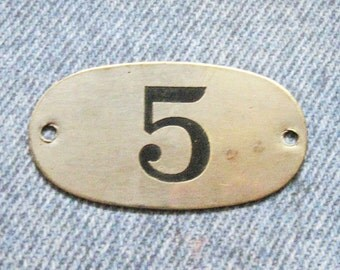 Industrial Brass Tag Number 5 Antique Rustic Silver Nickel PO Box Painted Numbered Victorian Postal ID Hardware Plate
