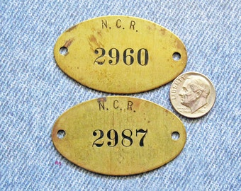 Antique Brass NCR Number Tag National Cash Register Ephemera Black Painted Numbered ID Hardware Plates