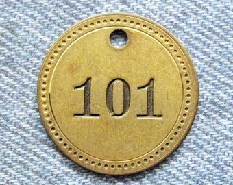 Painted Number 101 Brass Tag Motel Room Check Id Retro Antique Keychain Key Ring Fob Token