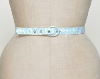 1950s Floral Belt --- Vintage Blue Belt