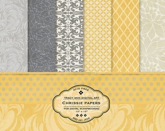 Yellow and Grey Digital Paper pack for invites, card making, digital scrapbooking