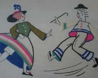 Vintage Art Deco Dancing Man and Lady Embroidery Wall Art 1930's
