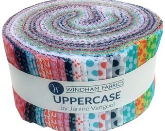 "Windham UPPERCASE Precut 2.5"" Fabric Quilting Strips Jelly Roll Janine Vangool"