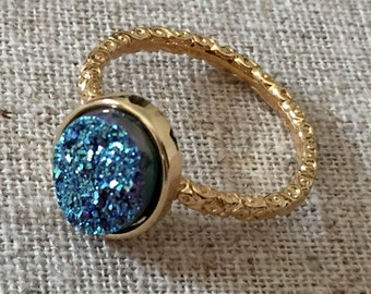 Dara Ettinger NADIA Druzy Ring in 14kt Gold/Ocean Blue Druzy Oval sz 8