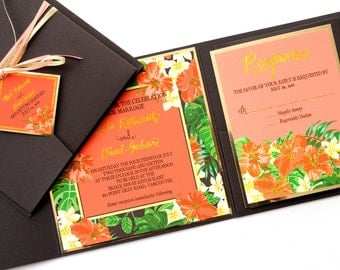 Tropical Flowers (Hibiscus and Plumeria) Watercolor & Glitter Beach Destination Wedding Invitation and RSVP Suite