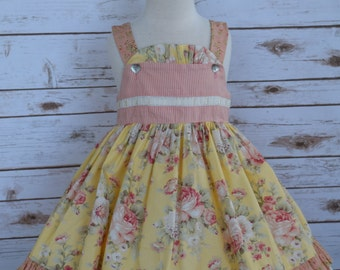 Girls Summer Dress-Girls Boutique Floral Dress-Girls Yellow Floral Dress-Girls Jumper-Girls Ruffle Dress-Ready to Ship-Size 4/5-CPSC