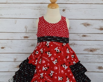 Girl's Valentine Dress-Girl's Valentine Boutique Dress-Girl's Special Occasion Dress-Girls Ruffle Dress-Girls Boutique Dress-Ready to Ship