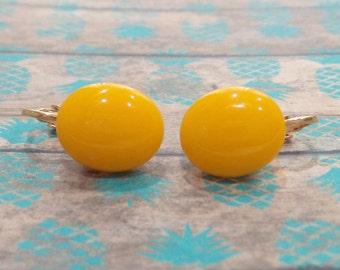 Clip On Earrings, Tangerine Orange, Non Pierced Earrings, Orange Fused Glass Jewelry - Genelle - -6