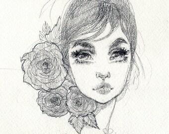 Graphite Roses original drawing
