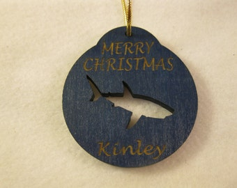 Personalized wooden christmas cut out shark ornament or gift tag