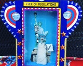 Statue of Liberty Mexican Altar Shadow Box, Painted Tin Nicho Frame, Day of the Dead Political Wall Art
