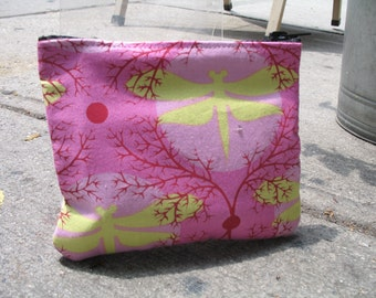 """Pink Dragonfly Cosmetic Case, Coin bag,  6"""" Zipper Pouch Make Up Bag"""