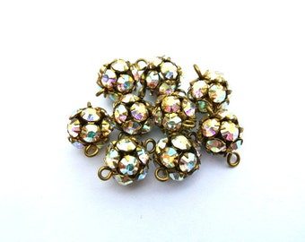 9 Vintage Swarovski connector BEADS 11mm AB clear crystals rhinestones in brass setting- RARE