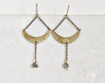 Brass crescent moon earrings, pyrite gemstones