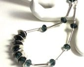 Silver Blue Chain Bead Necklace
