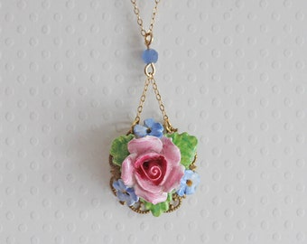 Flower Necklace Vintage Pansy Necklace Wedding Jewelry OOAK
