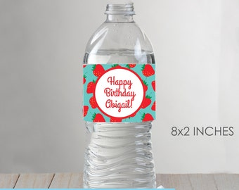 Strawberry Party Water Bottle Labels - Printable DIY with fully editable text