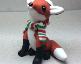 Fox with Santa Hat Ornament by Shelly Schwartz