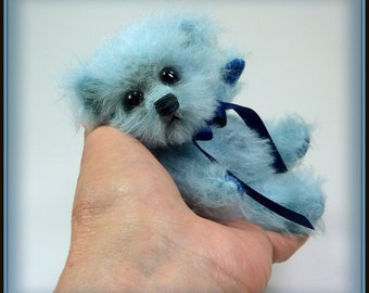 Wells – Artist Teddy Bear, Handmade, Stuffed Animal, Mohair, Vintage, OOAK, Blue Bear, Made in Alaska, 5.5 Inches