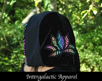 Lotus Hood with Fluorite Crystals and Organic Fabric, Festival Hood, Gypsy Clothes