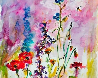 Wildflowers Jewels of Nature #2 Watercolor and Ink Original Painting by Ginette Callaway