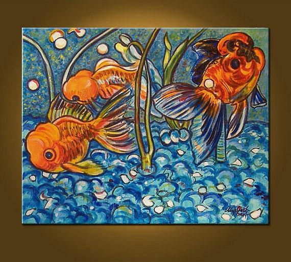 Happy Goldfish -- 16 x 20 inch Original Oil Painting -- by Elizabeth Graf, Art Painting