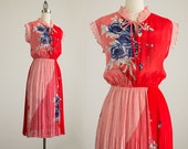80s Vintage Red Floral Print Ruffle Trim Day Dress / Size Small / Medium