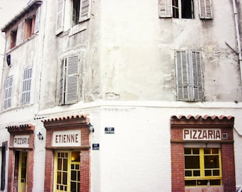 Kitchen wall art, pizzaria, italian restaurant, pizza, Provence France photograph, windows, architecture print  'Pizzaria'