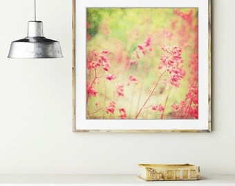Botanical photography print abstract neon pink coral bells flower wall art - Filigree Flowers