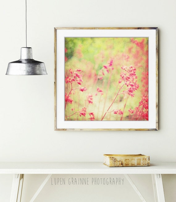 """Floral wall art - abstract botanical art - neon pink coral bells - impressionistic  wall art - square print  """"Filigree Flowers"""""""