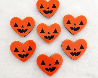 Pumpkin Heart Brooch - Jack O Lantern Halloween Acrylic Pin
