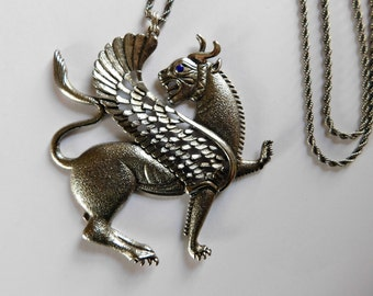 Vintage Griffin Necklace HUGE Egyptian Revival Jewelry Pendant Gryphon Greek Mythology
